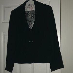 Black fashion women's blazer with pleated lapels